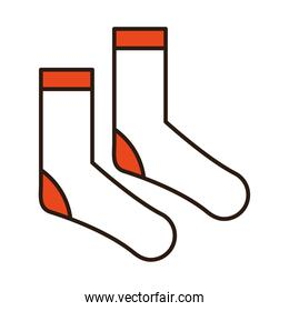 socks accessory sport and casual clothes line and fill icon