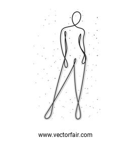 line woman body with dots on white background