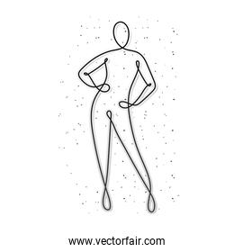 line woman body with feet on white background