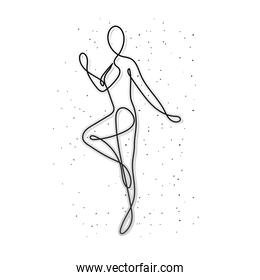 line woman body with arms on white background