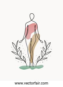 line woman body with one plant and arms on white background