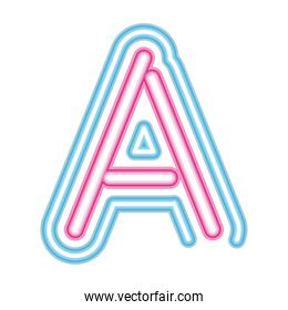 letter A neon font pink and blue on white background