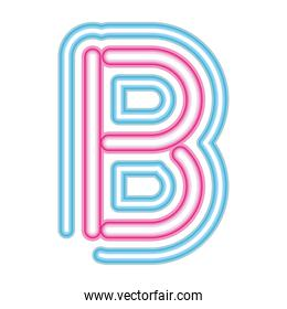letter B neon font pink and blue on white background
