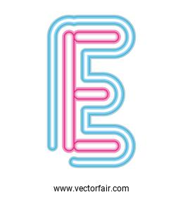 letter E neon font pink and blue on white background