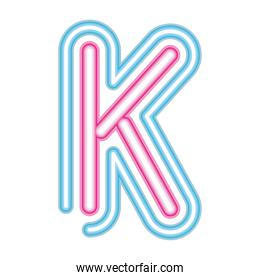letter K neon font pink and blue on white background
