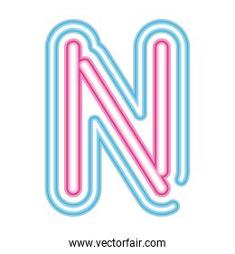 letter N neon font pink and blue on white background
