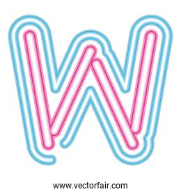 letter W neon font pink and blue on white background