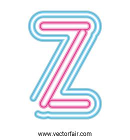 letter Z neon font pink and blue on white background
