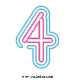 number 4 neon font pink and blue on white background