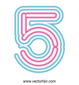 number 5 neon font pink and blue on white background