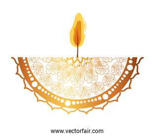 mandala of color pale orange with a candle on white background