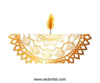 mandala of color orange with a candle