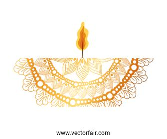mandala of color orange with a red candle on white background