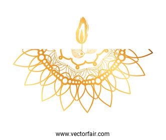 mandala of color pale orange with a candle