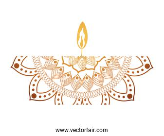 mandala of color orange with a red candle
