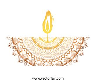 mandala of color ligth orange with a candle on white background