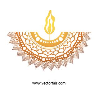 mandala of color ligth orange with a candle