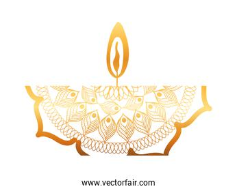mandala of color ligth orange with a red candle on white background