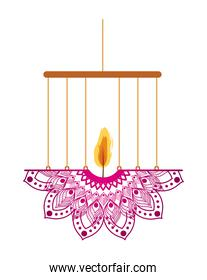 mandala of pink color with a candle on a chandelier