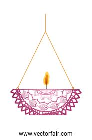 mandala of pale pink color with a candle on a chandelier