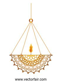 mandala of ligth orange color with a candle on a chandelier