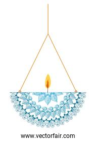 mandala of blue color with a candle on a chandelier