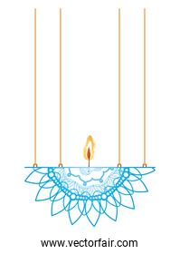 mandala of sky blue color with a candle on a chandelier