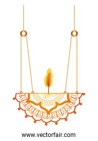 mandala with a candle on a chandelier
