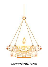 mandala of color with a candle and a chandelier on a white background