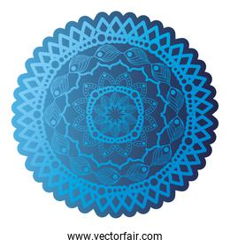 mandala of dark blue color with a white background