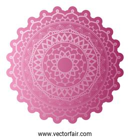 mandala of salmon color with a white background