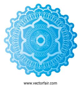 mandala of color sky blue with a white background