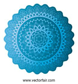 mandala of color pale blue with a white background