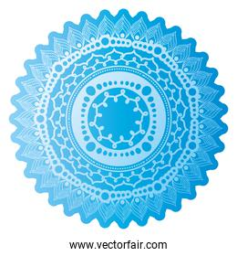 mandala of color ligth blue with a white background