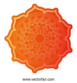 mandala of color ligth orange with a white background