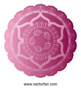 mandala of color ligth pink with a white background