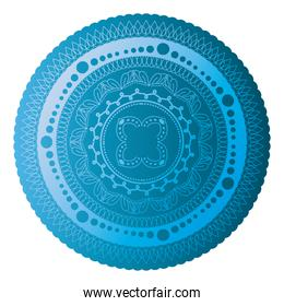 mandala of color sapphire blue with a white background