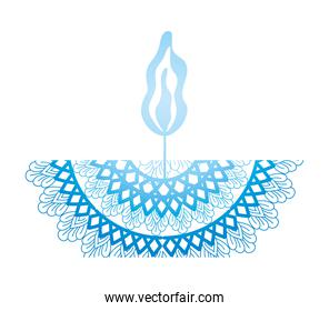 mandala of color pale blue with a candle on white background