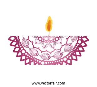 mandala of color fuchsia with a candle on white background