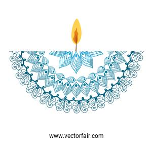 mandala of color sky blue with a candle on white background