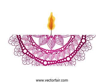 mandala of color pink with a candle on white background
