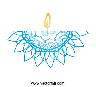 mandala of color blue with a candle on white background