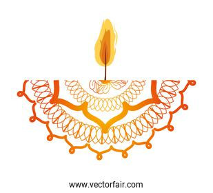 mandala of colors red and orange with a candle on white background
