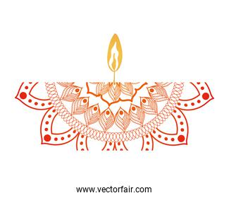 mandala of color red with a candle on white background