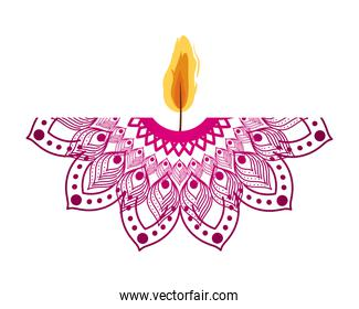 mandala of color ligth pink with a candle on white background
