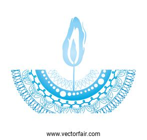 mandala of color pale blue with a blue candle on white background