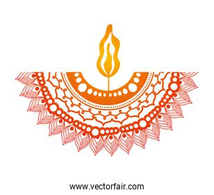 mandala of color orange with a candle on white background