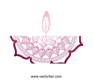 mandala of color pink with a pink candle on white background