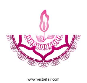 mandala of color dark pink with a dark pink candle on white background