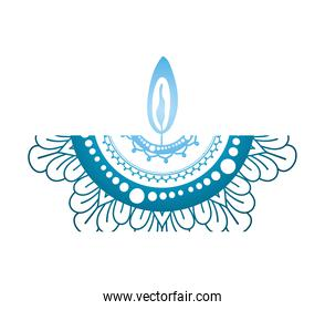 mandala of color dark blue with a blue candle on white background